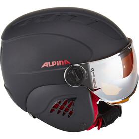 Alpina Carat LE Visor HM Casque Enfant, black-red matt